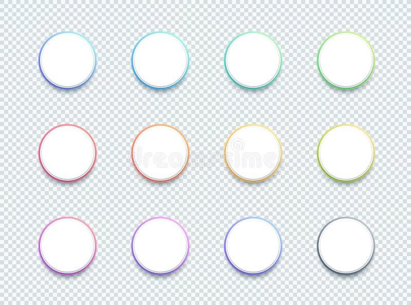导航3d圈子白色正文框横幅元素集12 库存例证