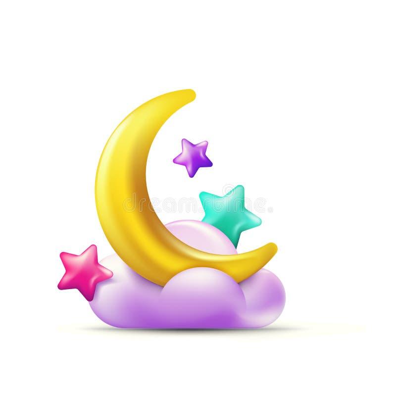 导航3d多色星的样式例证,在紫色云彩的金黄月亮 五颜六色的糖果象和设计元素 向量例证