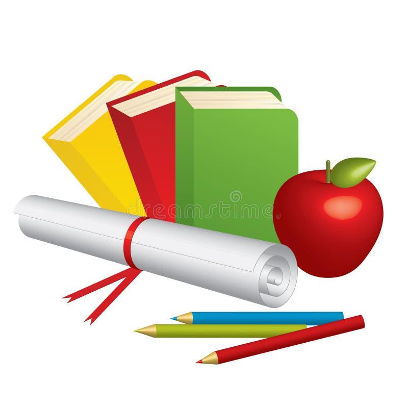 3d学校用品和红色苹果 向量例证