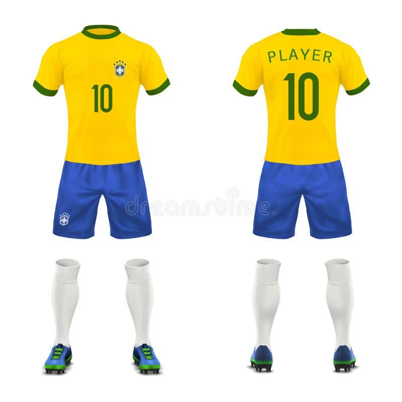 导航3d巴西足球运动员现实制服  皇族释放例证
