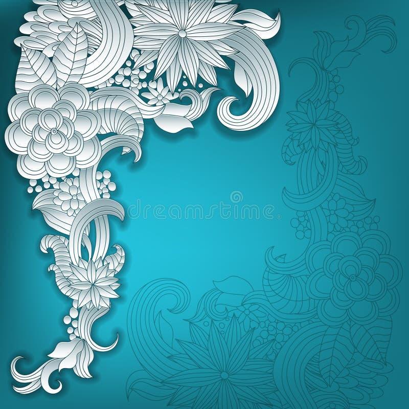 导航3d框架装饰品,与花卉元素的空间 库存例证
