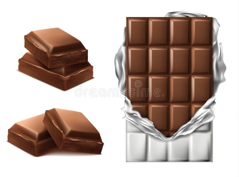 导航3d现实棕色巧克力块,片断 库存例证