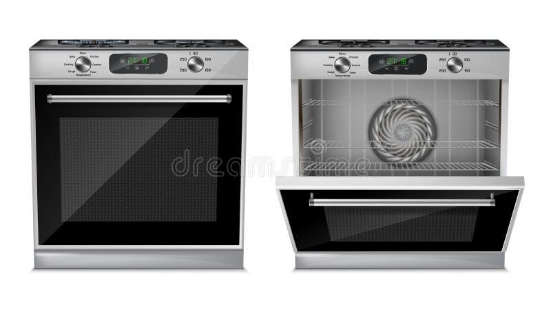 导航3d现实紧凑烤箱,煤气炉 皇族释放例证