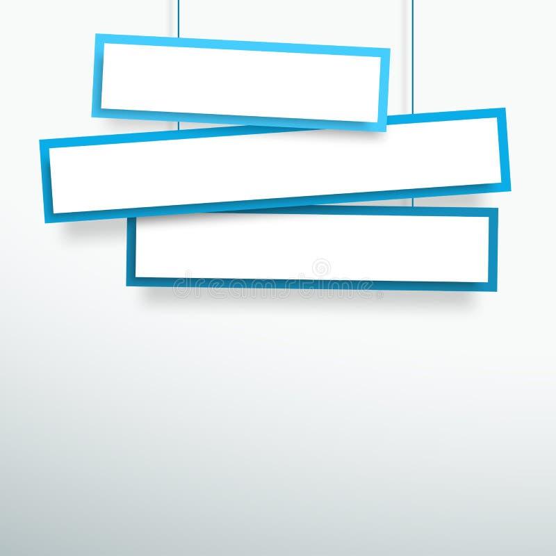 导航3d空白的蓝色3线虚弱的垂悬的横幅 库存例证