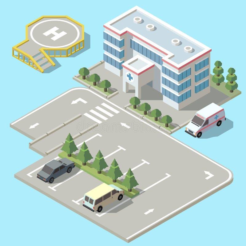 导航3d等量医院,有停车处的救护车 向量例证
