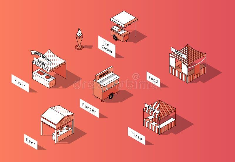 导航3d等量食品店,都市市场 皇族释放例证