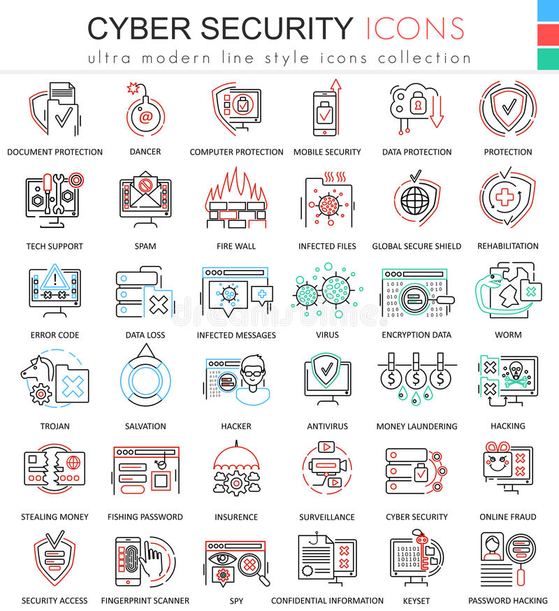 导航apps和网络设计的网络安全超现代颜色概述线象 皇族释放例证
