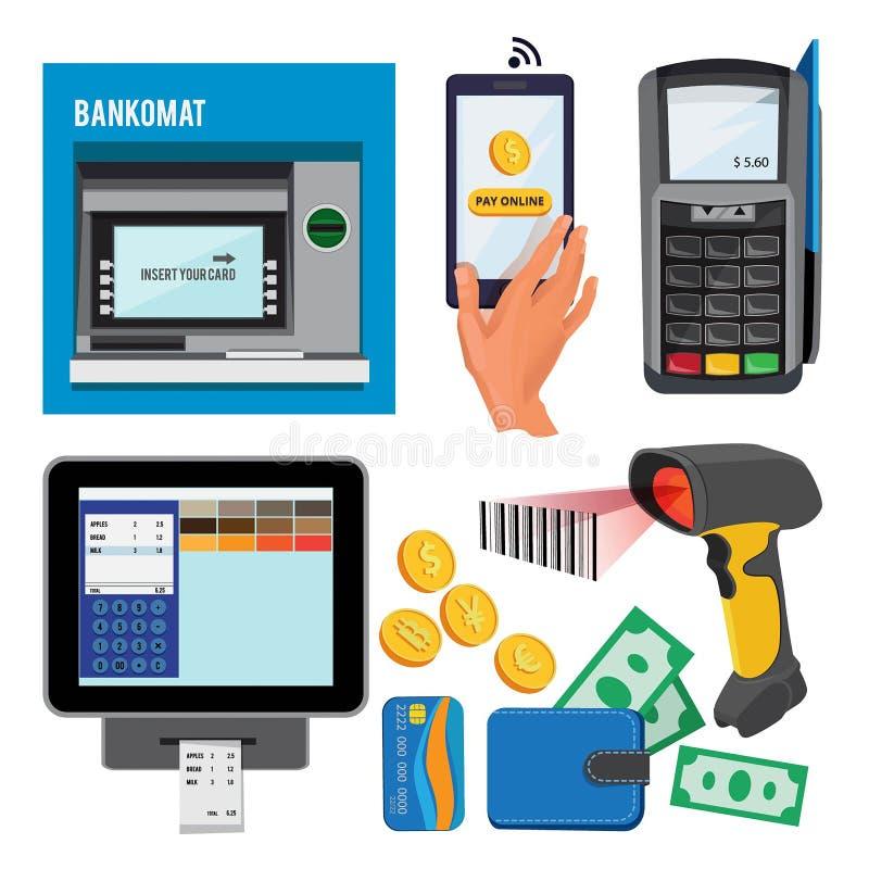 导航bankomat和终端的例证信用卡支付的 库存例证