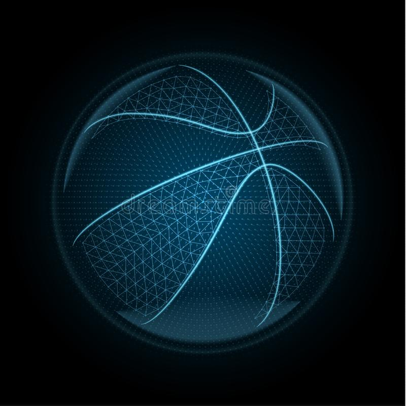 导航basketballl球的图象由发光的线,点做成 库存例证