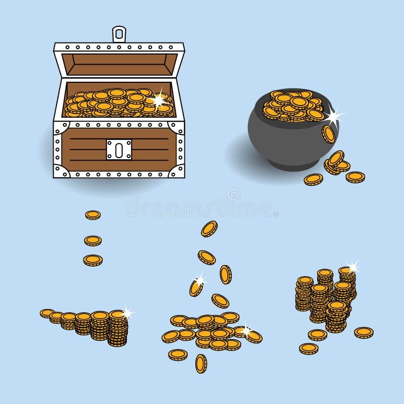 导航EPS10例证用不同的形式被安置入宝物箱,珍宝罐和分别地使用的金币 库存例证