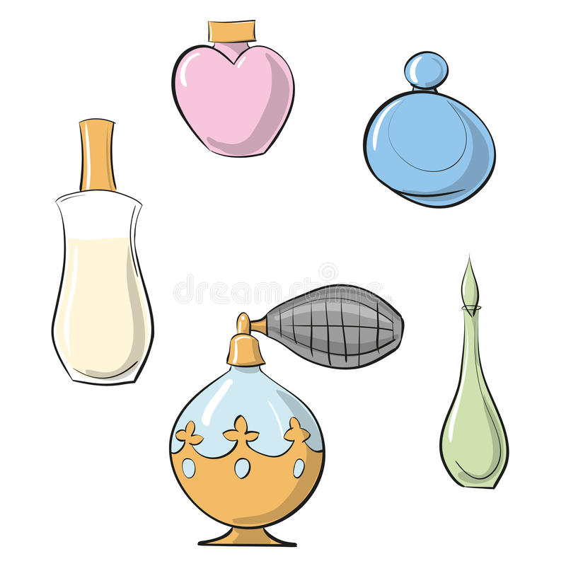 导航EPS 10例证香水喷雾器和四个香水瓶手拉的彩色组 库存例证