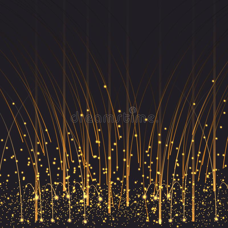 导航eps 10发光的雨金黄闪烁尘土闪耀的闪光背景装饰 库存例证