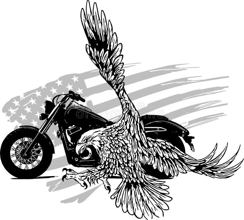 导航illustation美国老鹰反对美国旗子和白色背景 皇族释放例证