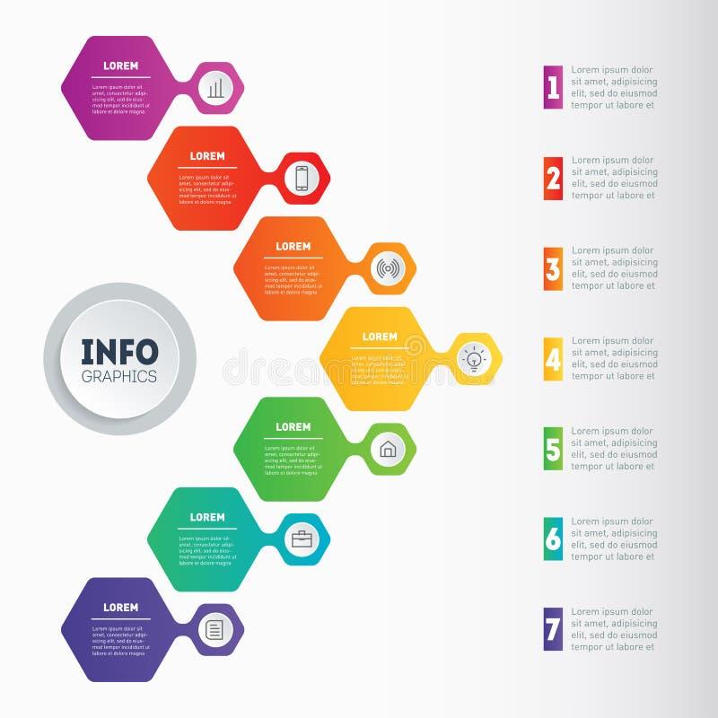 导航infographic与7 ste的技术或教育过程 库存例证