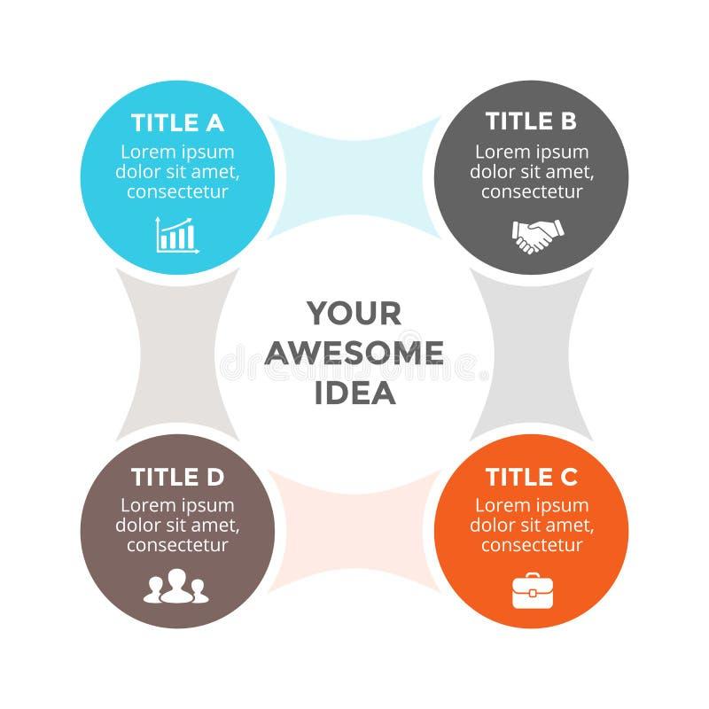 导航infographic圈子的metaball,周期图,图表,介绍图 与4个选择,零件的企业概念 库存例证