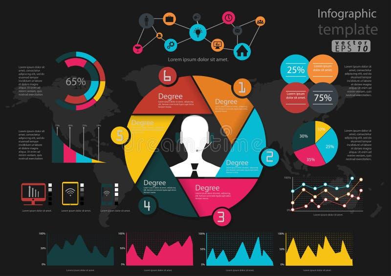 导航Infographic模板企业想法,概念,通信全世界象 图表展示和五颜六色 向量例证