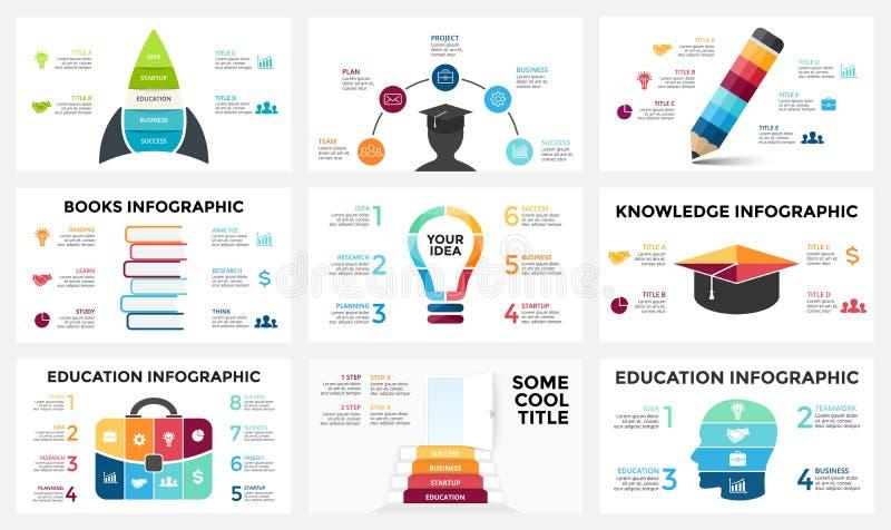导航infographic的箭头,图图,图表介绍 与3, 4, 5, 6, 7, 8个选择,零件的业务报告 向量例证