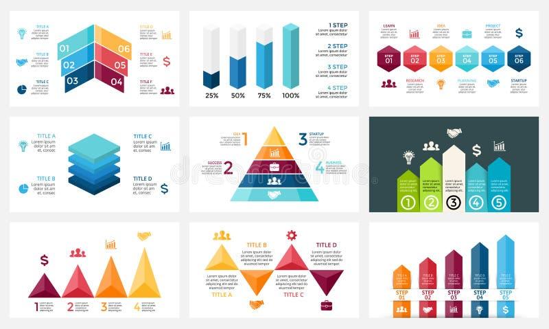 导航infographic的箭头,图图,图表介绍 与4, 5, 6个选择,零件,步的业务报告 皇族释放例证
