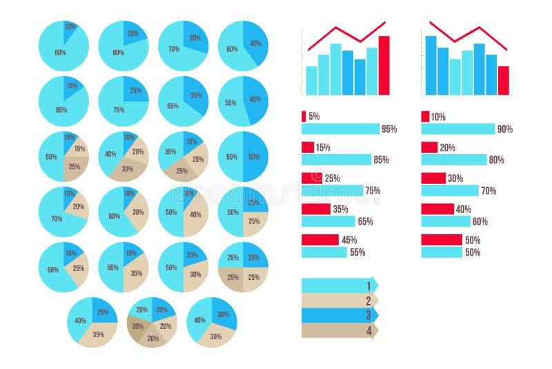 导航Infographics 5%到95%图、箭头、成长和被隔绝的秋天图表 向量例证