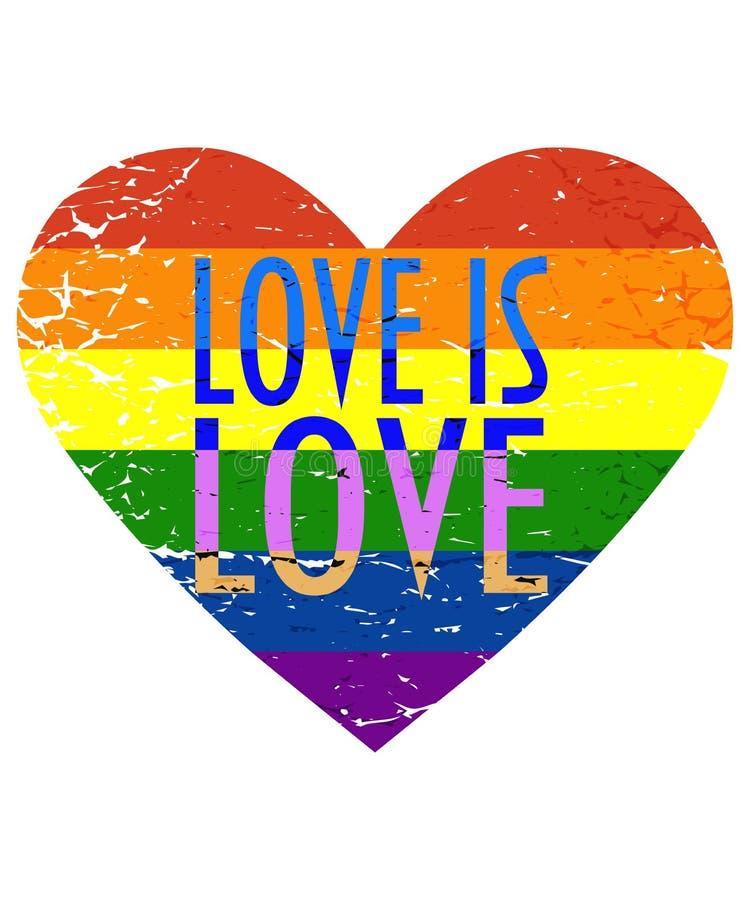 导航LGBT或LGBTQI社区的例证自豪感月:在困厄的心脏形状和文本爱的彩虹旗子是爱 皇族释放例证