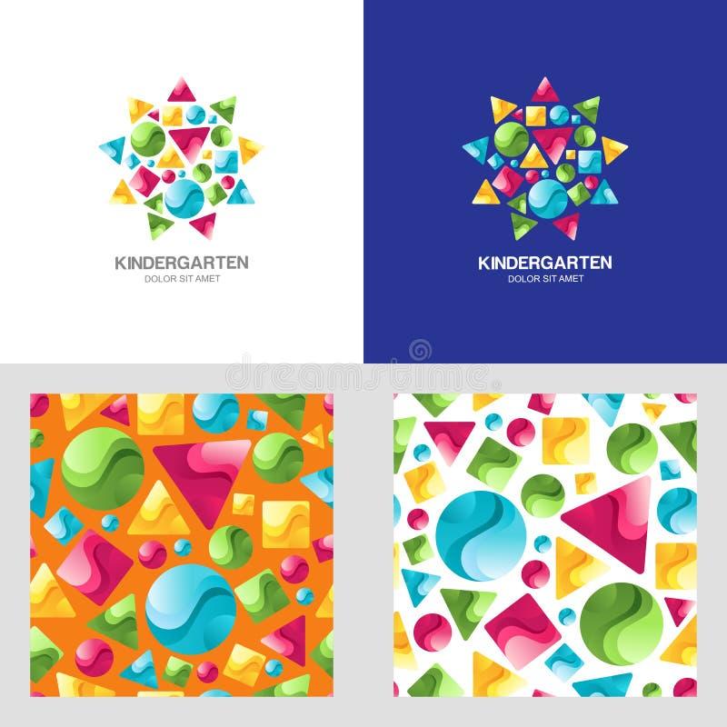 导航montessori幼儿园商标、象征和无缝的样式 库存例证