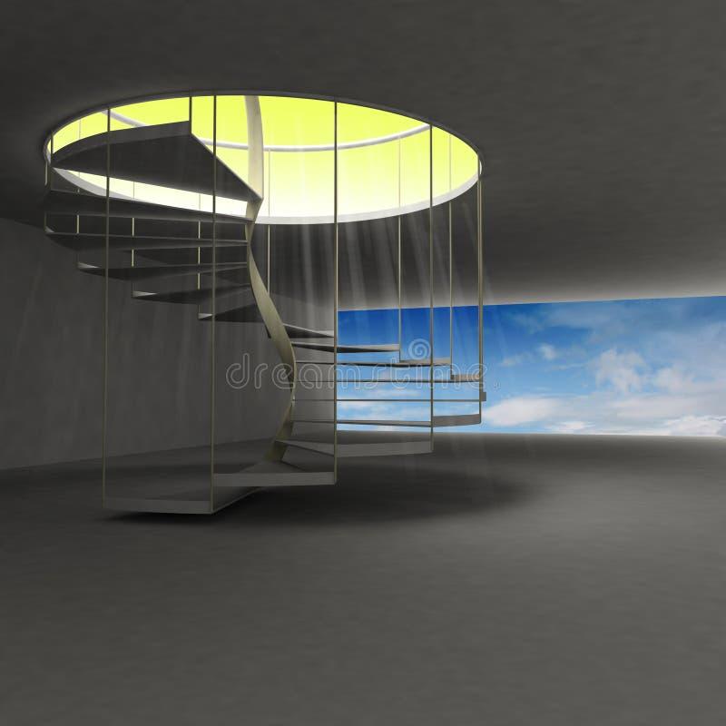 导致在云彩上的金子天堂的螺旋形楼梯 皇族释放例证