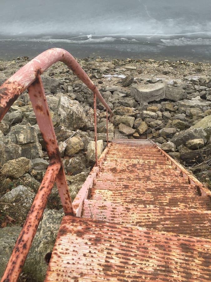 导致密西西比的生锈的金属台阶 图库摄影