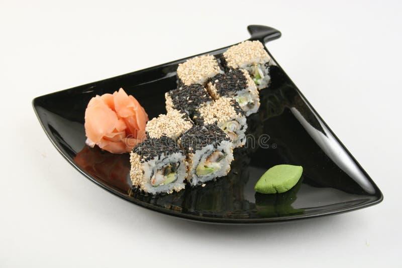 寿司卷用在芝麻的海鳗 库存图片