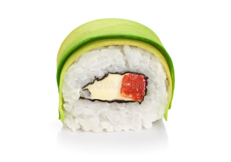 寿司卷用鲕梨、三文鱼和费城乳酪 免版税库存照片
