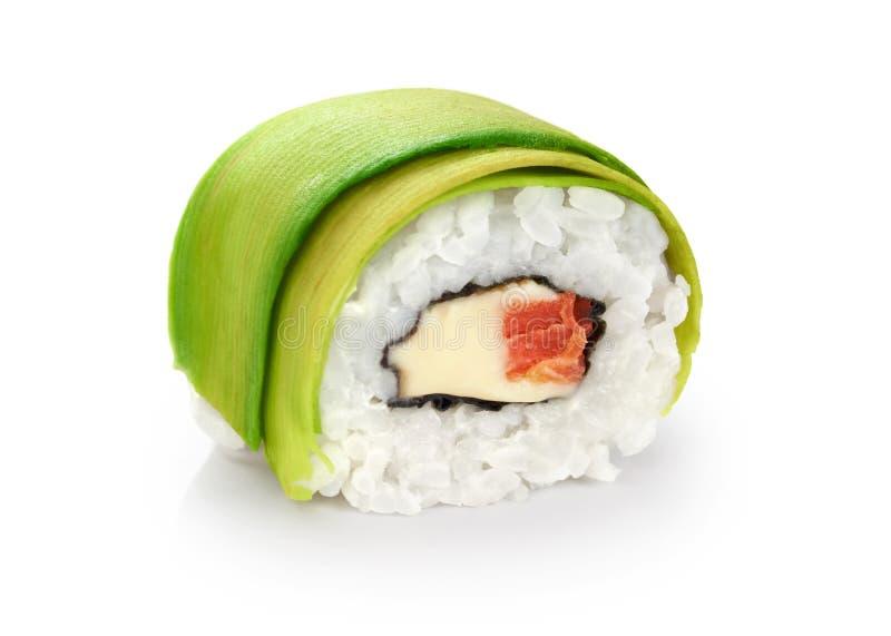 寿司卷用鲕梨、三文鱼和费城乳酪 库存照片