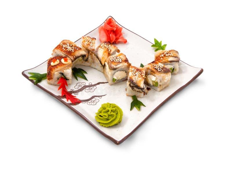 寿司卷设置了龙 库存图片