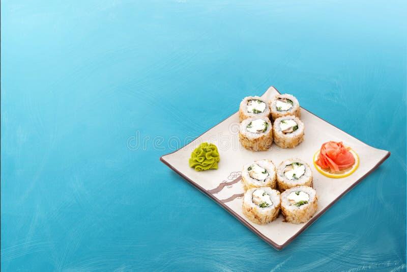 寿司卷设置用乳酪 免版税图库摄影