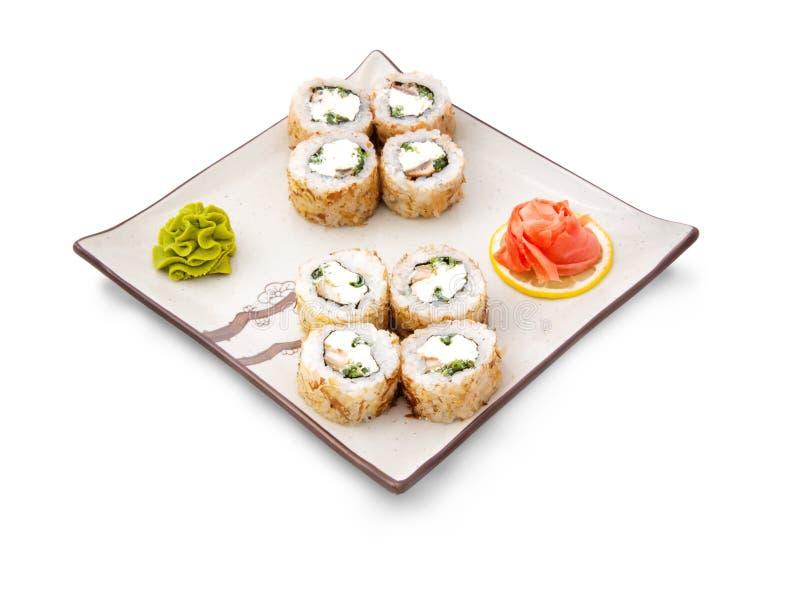 寿司卷设置用乳酪 库存图片