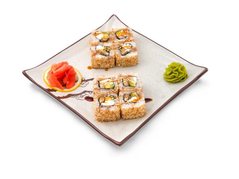 寿司卷设置用芝麻 免版税库存图片