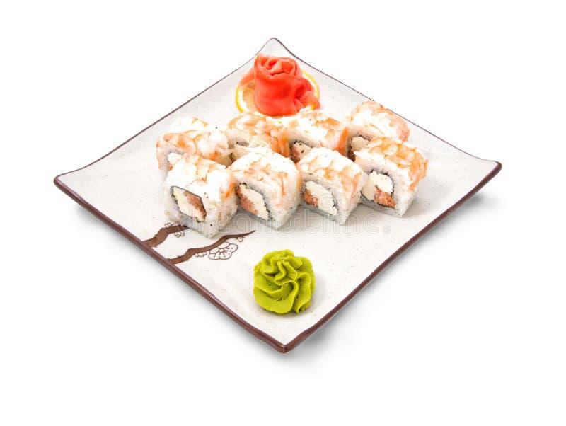 寿司卷设置用鱼子酱和金枪鱼 免版税库存图片