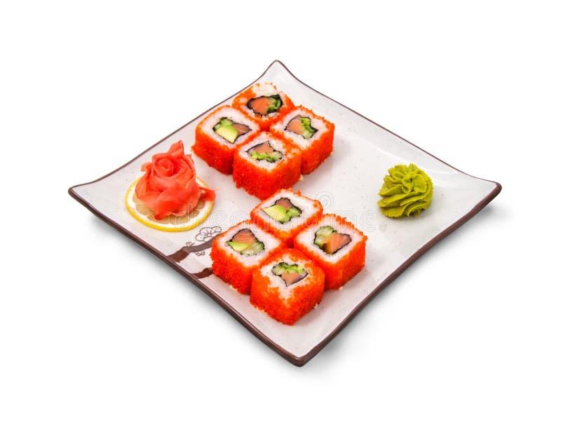 寿司卷设置用鱼子酱 图库摄影