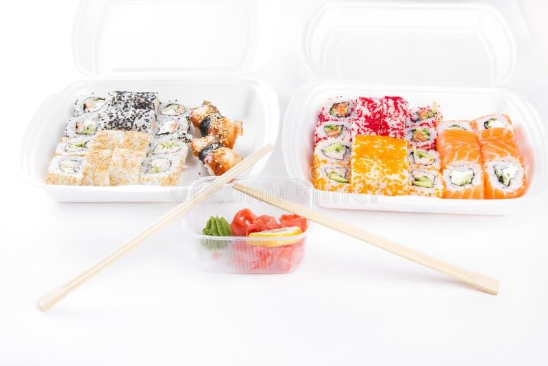 寿司和卷集合 免版税图库摄影