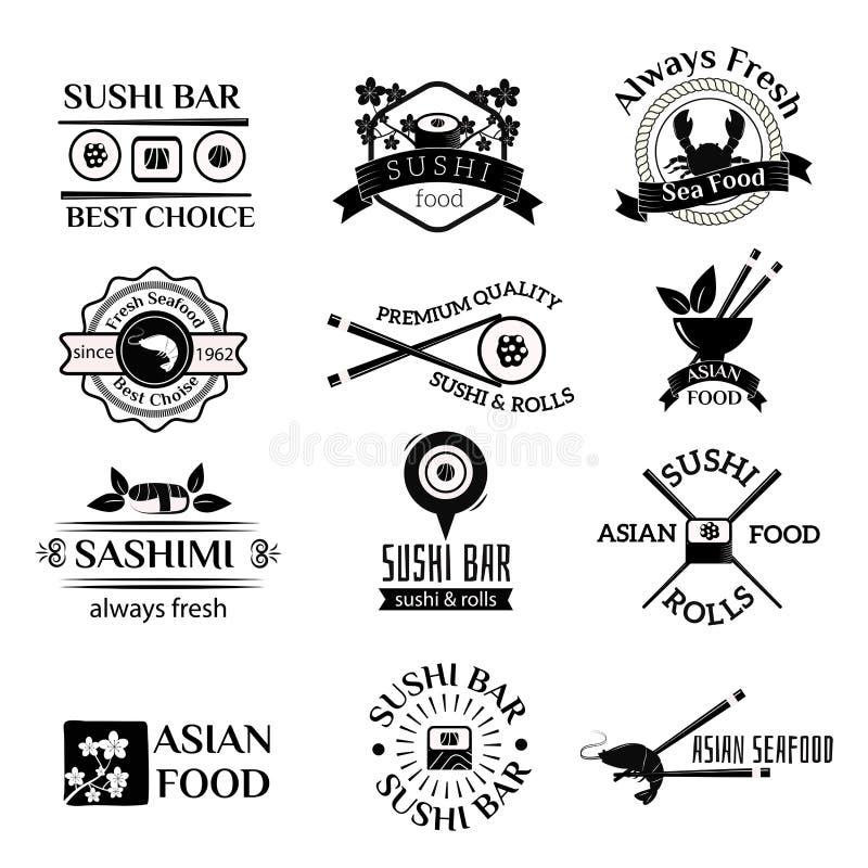 寿司商标象传染媒介集合 皇族释放例证