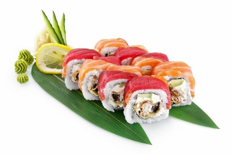 寿司在白色背景隔绝的Unagi天麸罗 库存图片