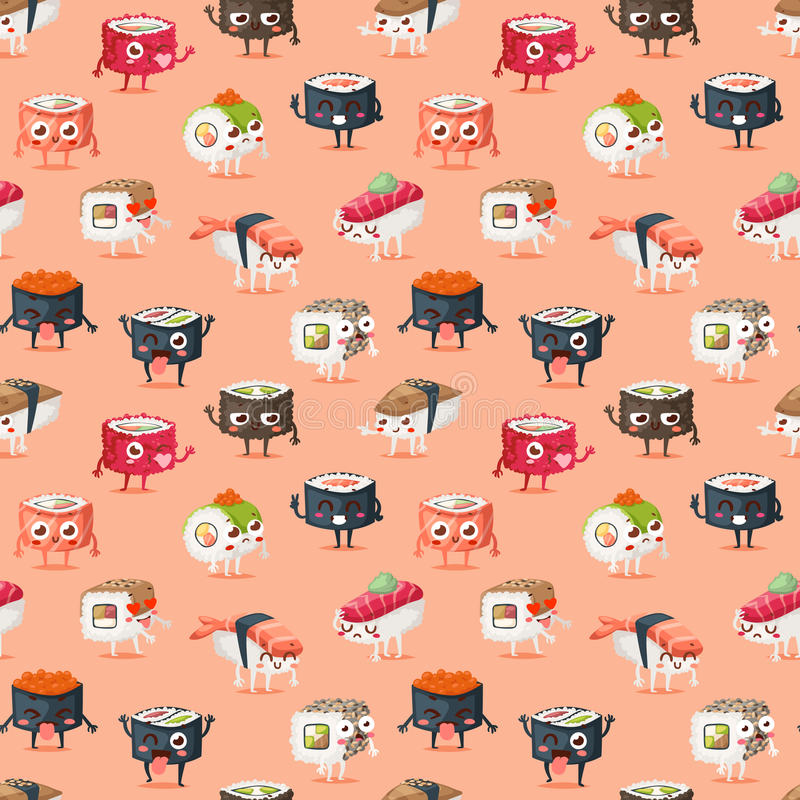 寿司字符传染媒介食物无缝的样式 向量例证