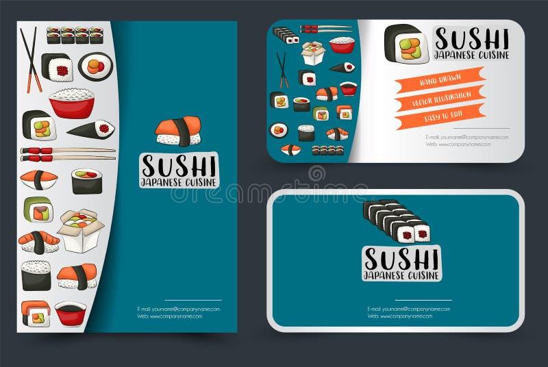 寿司店或餐馆飞行物和被设置的名片 向量例证