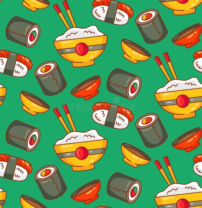 寿司日本食物五颜六色的无缝的传染媒介样式 向量例证