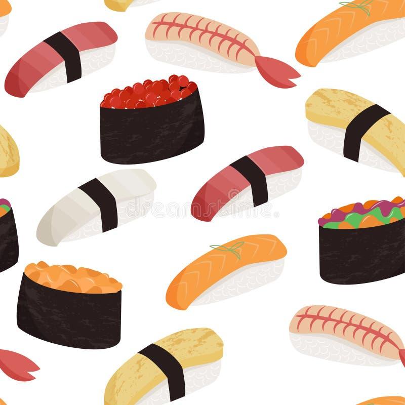 寿司样式 日本盘无缝的样式 r 向量例证