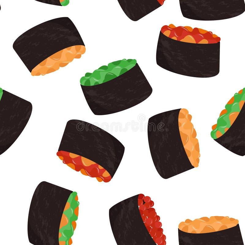 寿司样式 日本盘无缝的样式 r 库存例证