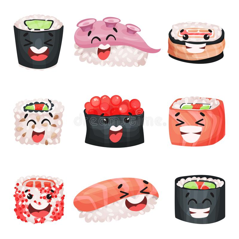 寿司漫画人物设置了,与滑稽的面孔传染媒介例证的日本食物 皇族释放例证