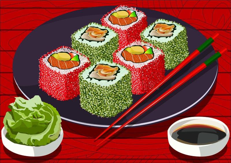 寿司用鱼子酱和三文鱼,用酱油和山葵,传染媒介 向量例证