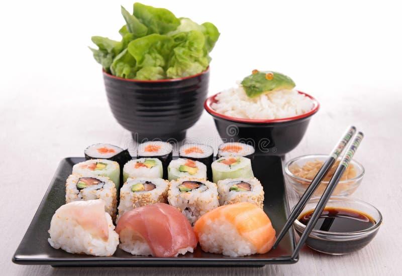 寿司的分类 免版税库存照片