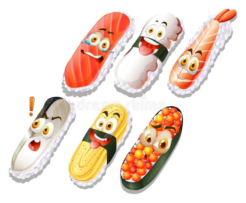 寿司设置与面孔 库存例证