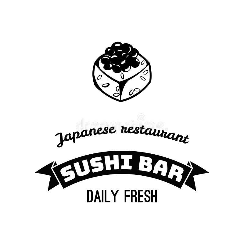 寿司象 卷 日本餐馆商标,标签 海鲜徽章 日本食物 亚洲烹调 向量 皇族释放例证