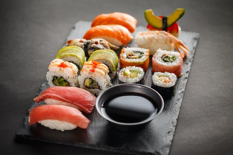 寿司集合生鱼片 库存图片